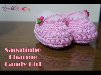 Crochê para Canhotas - Sapatinho Charme Candy Girls (Tam.: 17) - 10 à 12 meses