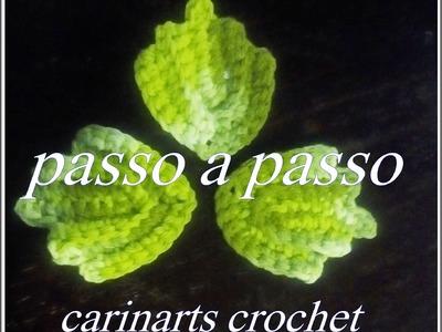 Folha de crochê simples e bonita para aplicação  by Carina Dias