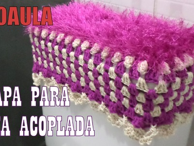 "Jogo de Banheiro Coruja Delicada - Capa de Crochê Caixa Acoplada ""Diandra Schmidt Rosa"""