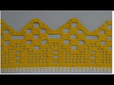 Barrado em crochê para pano de prato ou toalhas #73