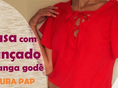 Blusa com amarração no decote e manga godê - parte 2: costura passo a passo (DIY Tutorial)