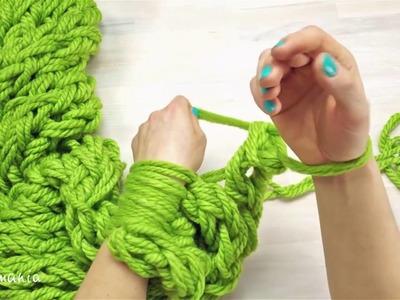 Como fazer cachecol em 30 minutos somente com as mãos