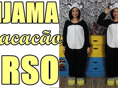 Como fazer pijama macacão de urso panda com costura à mão Diy - Especial  #12