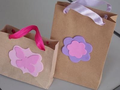 Como fazer sacolinha com papel kraft ou pardo