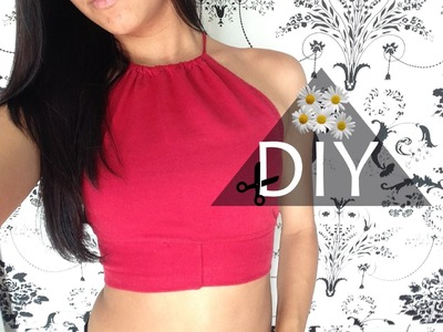 DIY : Halter top feito com legging | Top Cropped Tumblr super easy