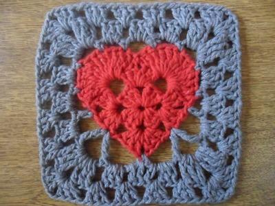 Quadrado coração em crochê
