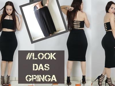 Como transformar saia longa em conjunto de saia lapis e top cropped #lookdasgringa