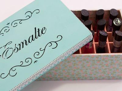 Caixa de Esmaltes com Forração de Tecido - Como Fazer
