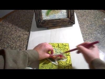 Craquelado feito com cola branca e tinta pva e decopage na tela.