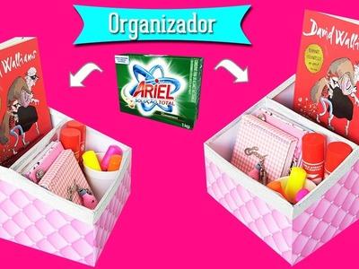 DIY- Caixa Organizadora Feito Com Caixa de Sabão em Pó