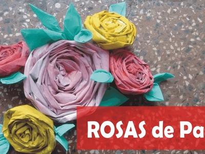 Rosas de papel, jornal, revista, caixa de leite, DIY Flores