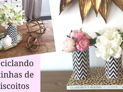 Reciclando latinhas de biscoito - vaso para flores | Do lixo ao luxo