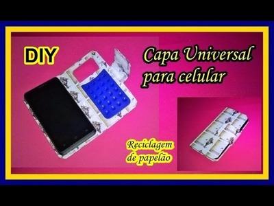 Capa universal para celular - reciclagem de caixa de leite ou suco