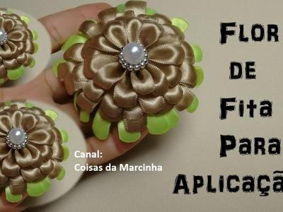 Flor de Fita Para Aplicação em Tiaras e Diversos Trabalhos