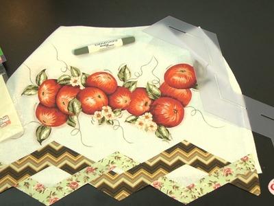 Alciana Rossi ensina fazer  um pano de prato com as réguas barrados da Isamara Custódio.