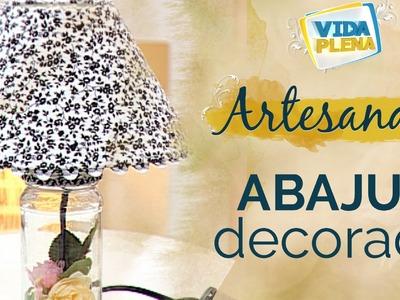 Artesanato | Abajur decorado com forração de cúpula | Customize o Seu Abajur