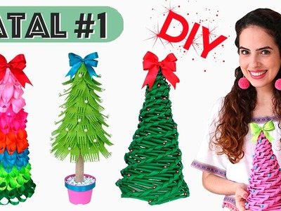 ESPECIAL NATAL #1: DIY ÁRVORES DE NATAL (com jornal, garfo e fita) | Paula Stephânia