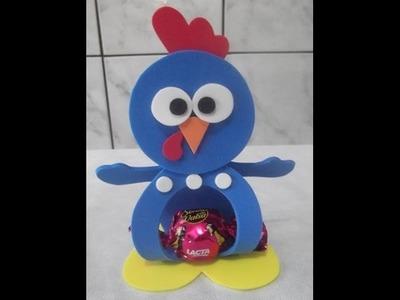 Como fazer porta bombom  da galinha pintadinha