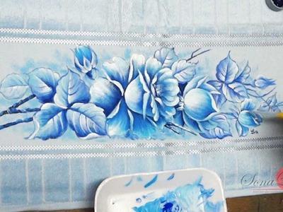 Rosas Azuis em Tecido (Aula 90)