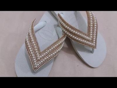 Passo a passo deTrama chique com manta de strass e perolas - elegante deTrama con manta de diamantes