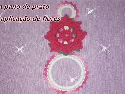 Jogo de cozinha   Porta pano de prato com aplicação de flores