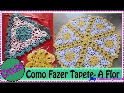 Como fazer Tapete Redondo em Croche com flores amarela em barbante   Aula 1