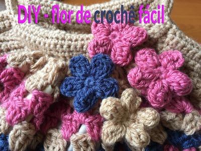 Flor de crochê fácil para aplicação