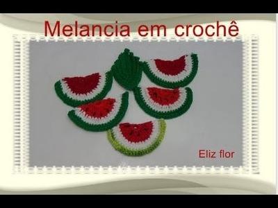 Fruta em crochê ''MELANCIA'' para aplicação em barrados