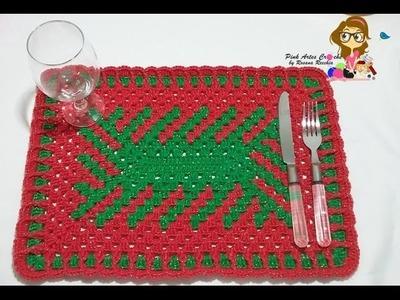 Jogo Americano Natalino em fio conduzido - passo a passo - Pink Artes Croche by Rosana Recchia