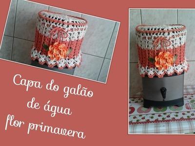 Versão canhotos:Capa para galão de água flor primavera ( 2° parte final) # Elisa Crochê