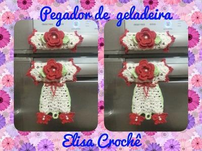 Versao canhotos : Pegador de geladeira borboletas em crochê ( 1ª parte ) # Elisa Crochê