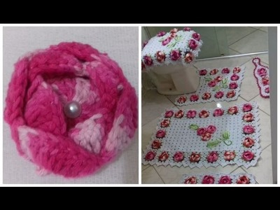 Flor De Crochê Para Aplicação - Jogo de Banheiro Florido com Cristina Coelho Alves