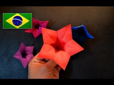 Origami: Flor Campainha Chinesa (Vera Young) - Instruções em português PT BR
