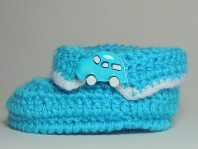 Sapatinho de Crochê Masculino com Lã Azul - Parte 3.3 (Canhotas)
