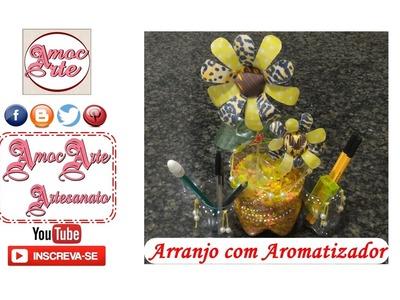 Organizador - Porta lápis com arranjo floral de garrafa pet -  3º Arte Desafio - AmocArte