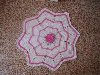 Tapete Crochê Estrela flor Rosa