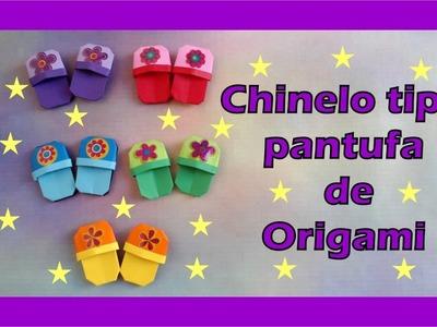CHINELO TIPO PANTUFA DE ORIGAMI - DECORAÇÃO PARA SCRAPBOOK