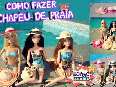 Como fazer CHAPÉU DE PRAIA para Barbie e outras bonecas ❤