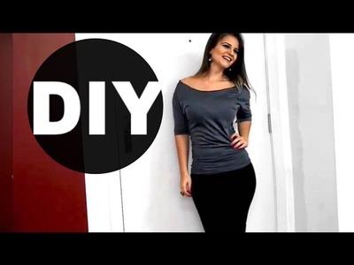 DIY   Como Fazer Blusa com Ombros de Fora!