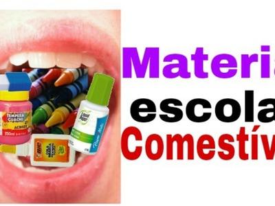 Diy material escolar comestível (Diy Edible school cola-Giz de cera,Borracha,tinta guache,corretivo