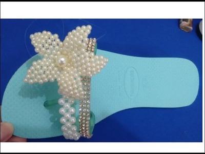 Sandália decorada com pérolas  flor de pérolas diy com cida reis