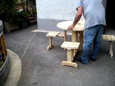 Banco.mesa madeira de bobinas+palete