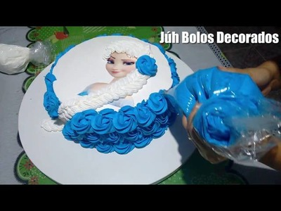 Como Decorar Bolo Frozen Elsa (Trança em Chantilly 2)