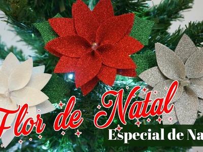 Flor de NATAL em E.V.A (Enfeite de NATAL) |DIY - Faça você mesmo