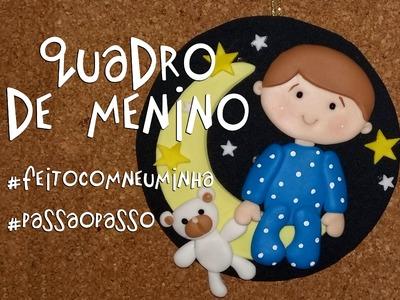 Quadro de menino com CD, EVA e biscuit - Neuma Gonçalves