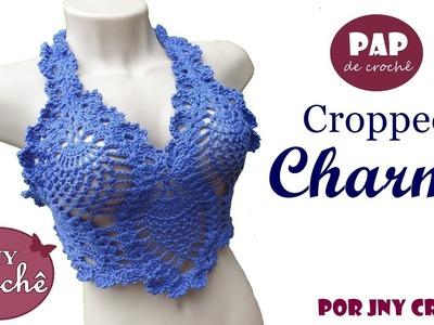 Cropped Charme | com ponto abacaxi - JNY Crochê