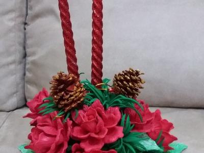 Decoração com rosas de e.v.a para vela de natal
