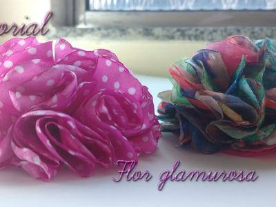 Flor glamurosa de tecido