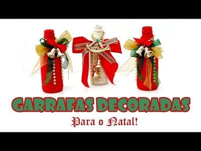 Garrafas Recicladas e Decoradas para o Natal ( ARTESANATO, DIY, RECICLAGEM )
