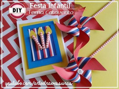 DIY:: KIT: Convite de Festa e Catavento para decorar a Festa Infantil -